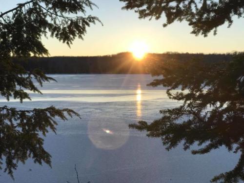 Summer Sunrise over Chicaugon Lake, Iron County Michigan and Chicaugon Lake Inn
